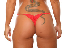 Load image into Gallery viewer, Red Mini Scrunch Thong Bikini Bottom