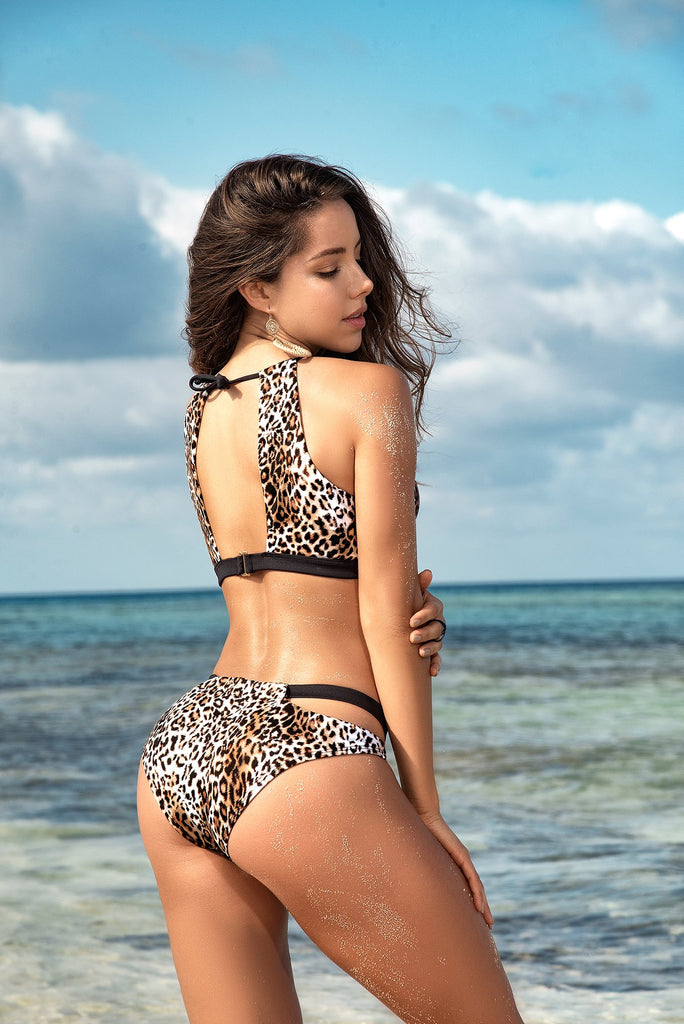 TWO PIECE LEOPARD PRINT SWIMSUIT WITH FULL BOTTOM
