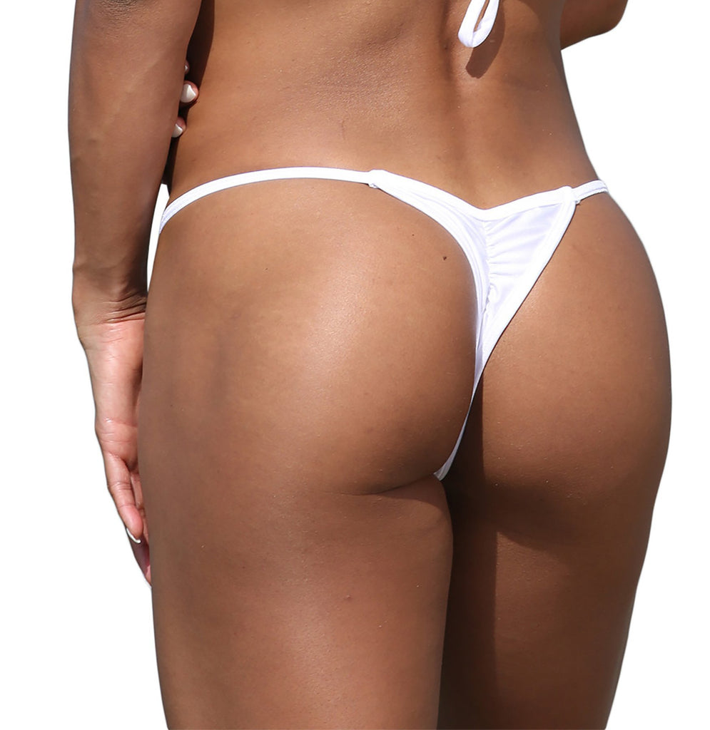 White Mini Scrunch Thong Bikini Bottom