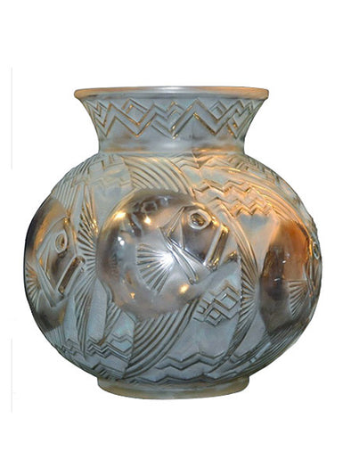 Pierre d'Avesn vase poissons opalescent art deco 1930