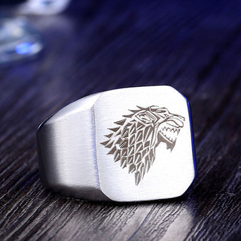 bague homme game of thrones argentée