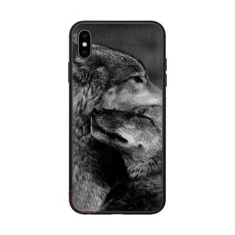 Coque iphone loup couple alpha