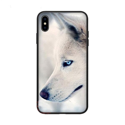 Coque iphone loup yeux bleu
