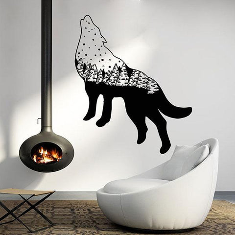 Stickers loup authentique noir