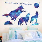 Stickers meute de loup galaxie