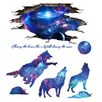 Stickers muraux loup galaxie