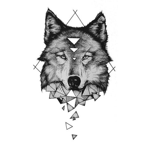 tatouage loup triangle