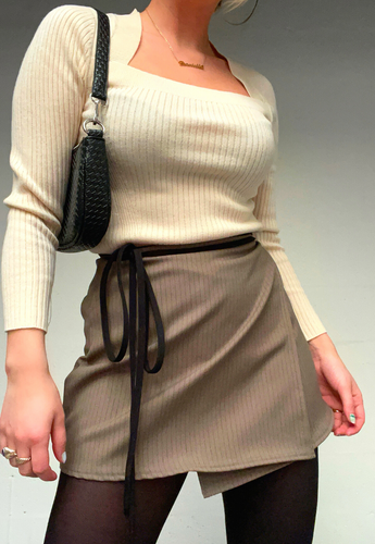 BROWN STRIPE WRAP SKIRT - HISSY FIT CLOTHING LTD
