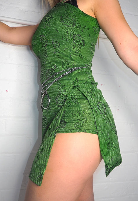 GREEN GLITTER SPLIT DRESS - HISSY FIT CLOTHING LTD
