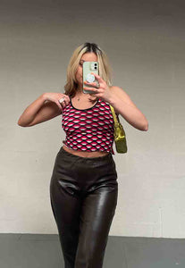 PINK GEOMETRIC STRAPPY BACK TOP - HISSY FIT CLOTHING LTD