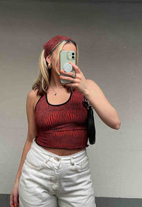 RED SNAKE STRAPPY BACK TOP - HISSY FIT CLOTHING LTD