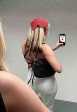 Load image into Gallery viewer, RED SNAKE STRAPPY BACK TOP - HISSY FIT CLOTHING LTD