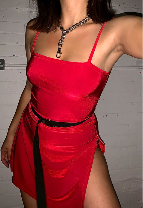 RED HISSY SPLIT DRESS - HISSY FIT CLOTHING LTD