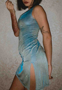 BLUE/YELLOW SHEER DRESS - HISSY FIT CLOTHING LTD