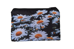 large flat zippered pouch (daisies)