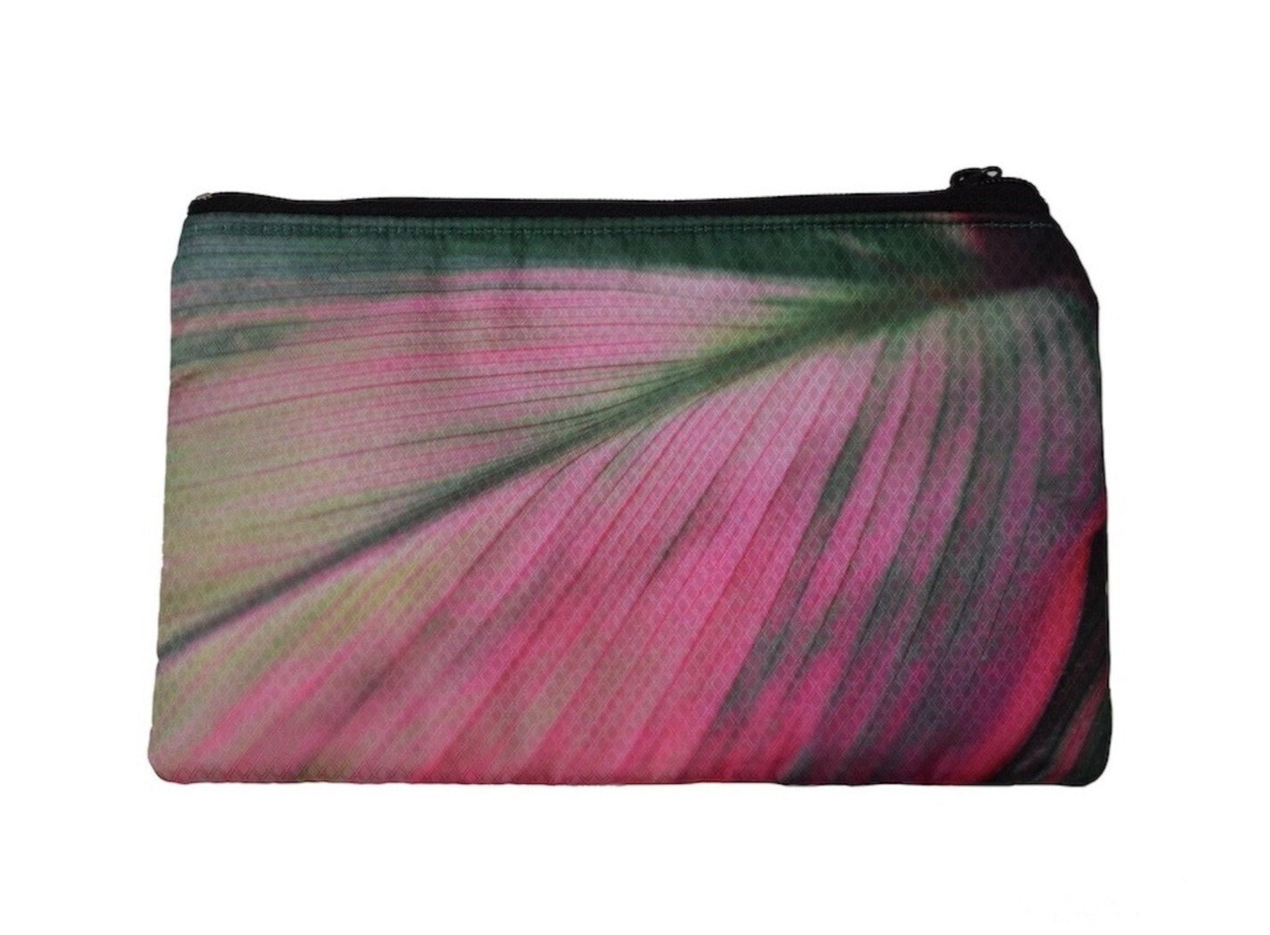 large flat zippered pouch (leaves- pink)