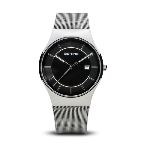 Classic polished silver man's watch