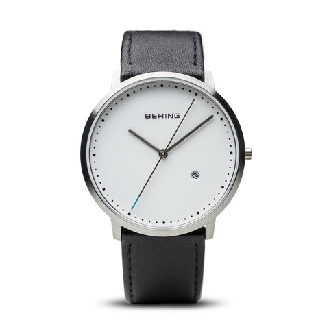 Classic brushed silver, white dial, man's watch