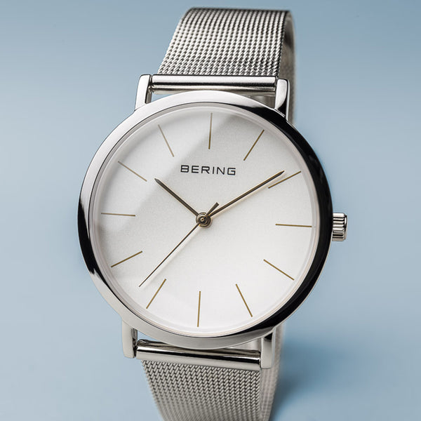 Classic polished silver woman's watch