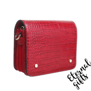 Triple Zip Croc Flap Over Cross Body Bag in Red