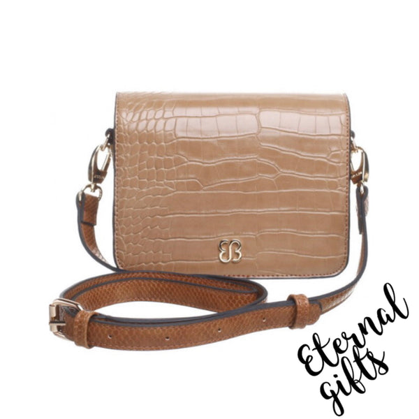 Triple Zip Croc Flap Over Crossbody Bag In Light Tan (Nude)