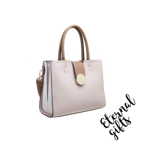 Three Tone Tone Handbag In Nude.
