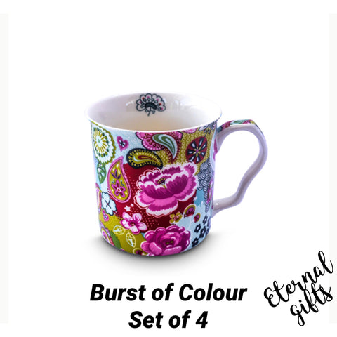 Burst of Colours 4 Mug Set- Shannonbridge Pottery
