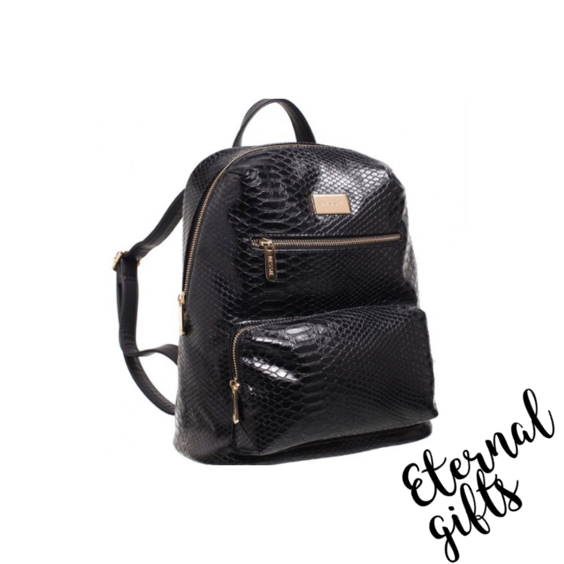 Lizard Effect Back Pack Black