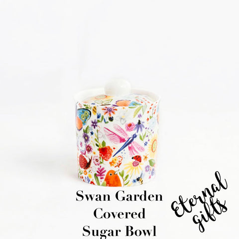 Swan Garden Covered Sugar Bowl - Shannonbridge Pottery