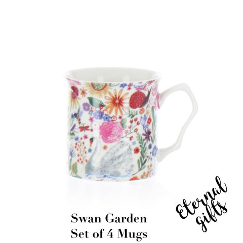 Swan Garden Mugs (Set of 4)- Shannonbridge Pottery