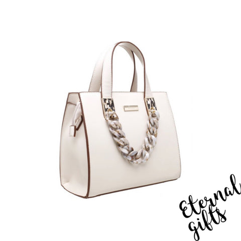 Urban Acrylic Chain Tote Bag in Beige/Cream