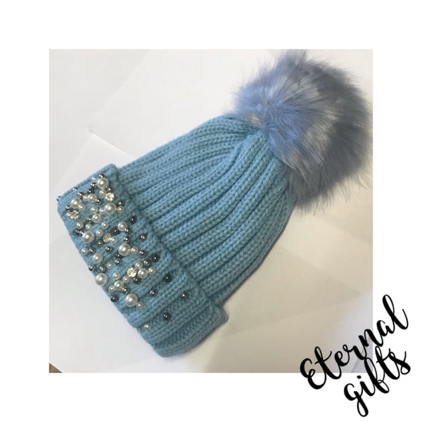 Tots Embellished (Rim) Wool -Fleece Lined Hats with Detachable Bobble.