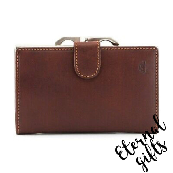 Italian Brown Leather Flap Over Frame Purse By Tony Perotti