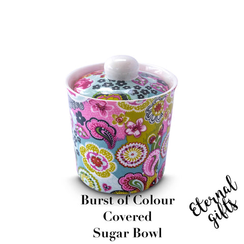 Burst of Colour Covered Sugar Bowl - Shannonbridge Pottery