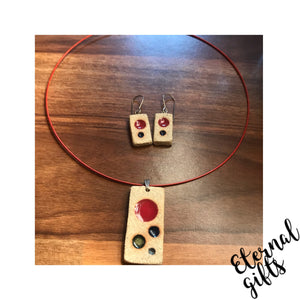 Rectangle Ceramic Jewellery Set by Michelle Butler Ceramics.