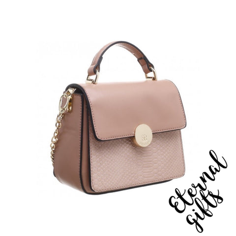 Croc Print Flap Over Top with Gold Chain Handle Bag in Blush