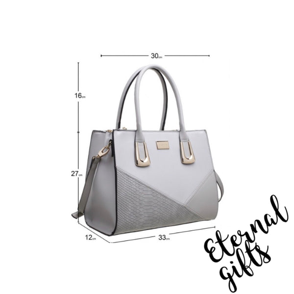 Classic Croc Colour Patchwork Tote Handbag in Grey