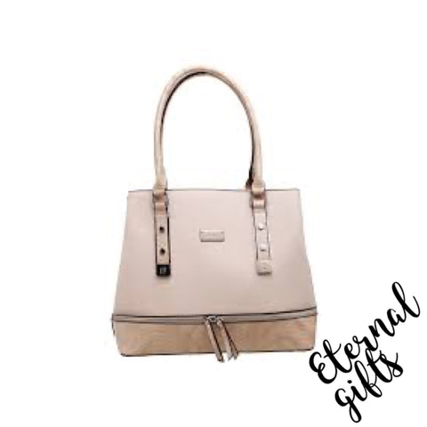 Croc Print Zip Feature Tote Bag in Beige