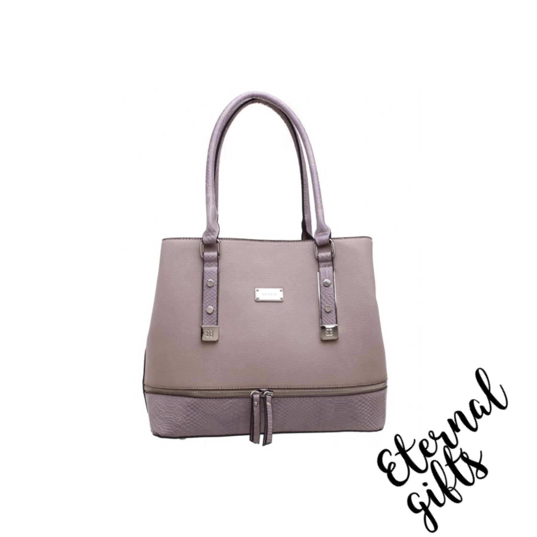 Croc Print Zip Feature Bag in Lilac/Purple