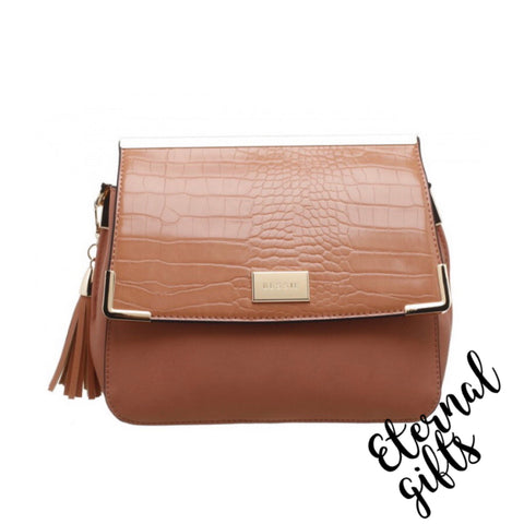 Croc Flap Over Tassled Cross Body Bag (Medium size) in Tan/Peach.