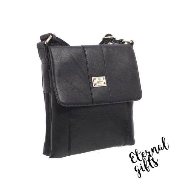 Cross Over Leather Bag with Flap and Zip Closure - In Black