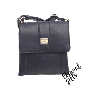 Cross Over Leather Bag with Flap and Zip Closure- In Navy
