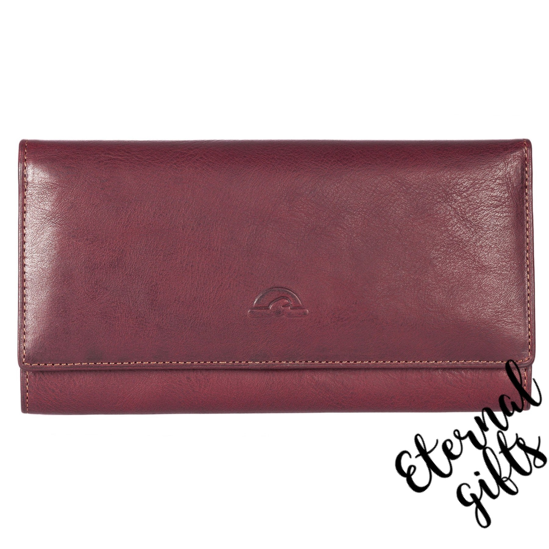 Italian Leather large flap over purse by Tony Perotti. Plum