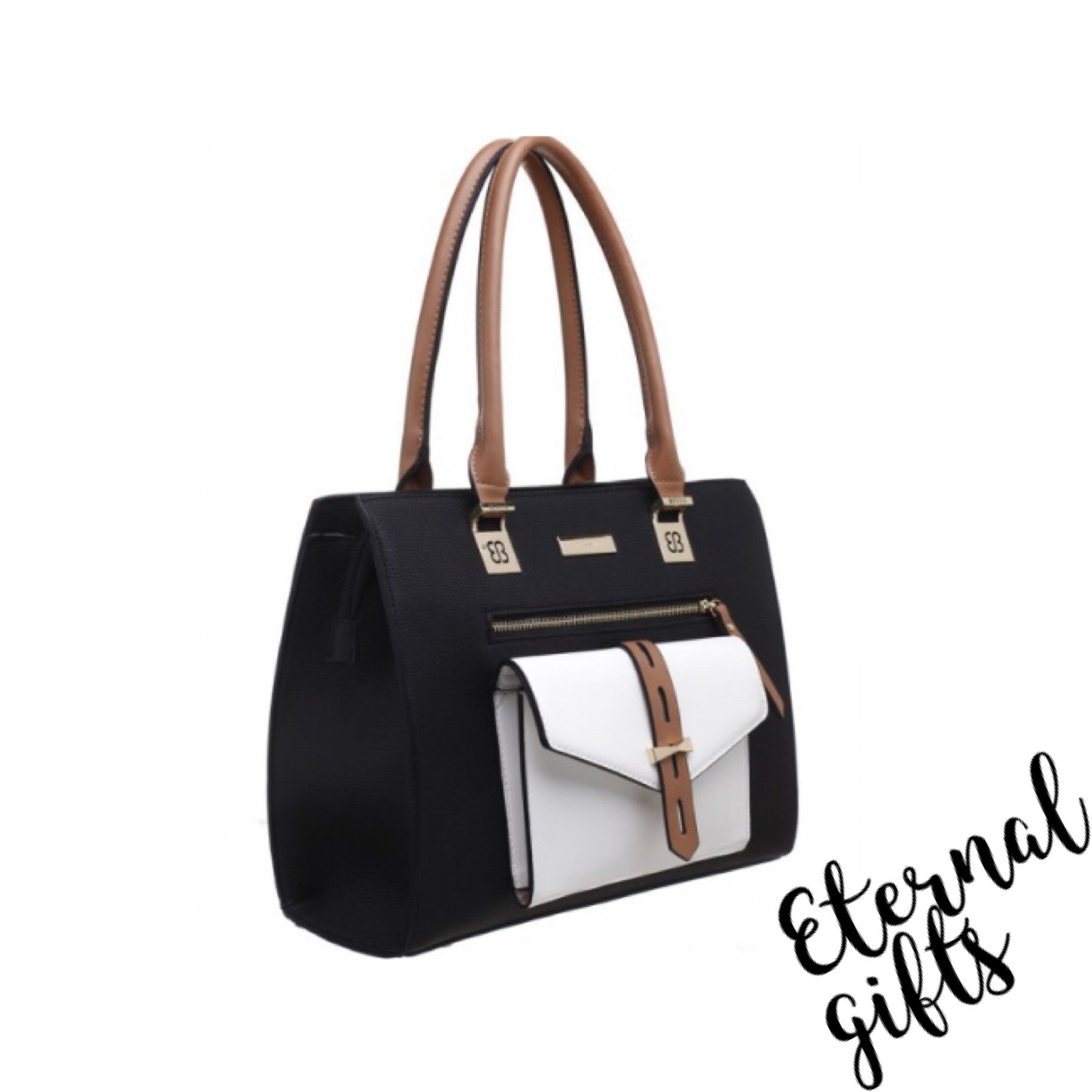 Classical Three Tone Front Pocket Tote Bag In Black