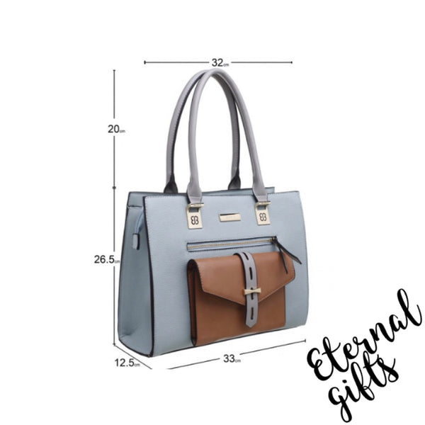 Classic Three tone Front Pocket Tote Bag In White