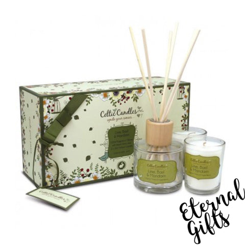 Celtic Candle Gift Set Lime Basil & Mandarin