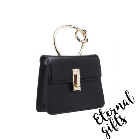 Metal Knotted Handle Flap Over Bag In Black