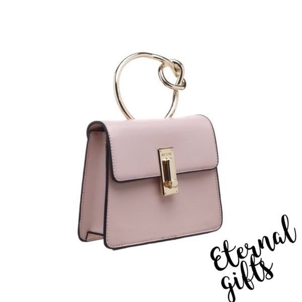 Metal Knotted Handle Flap over Bag with Gold Chain In Baby Pink
