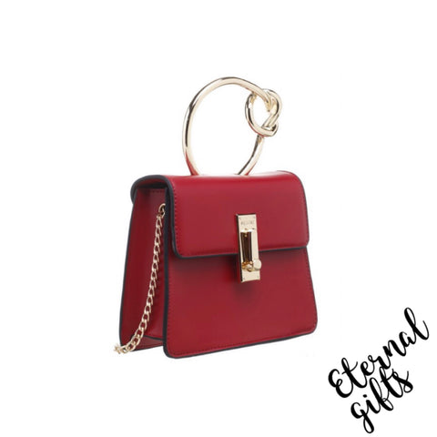 Metal Knotted Handle Flap Over Bag with Gold Chain In Red