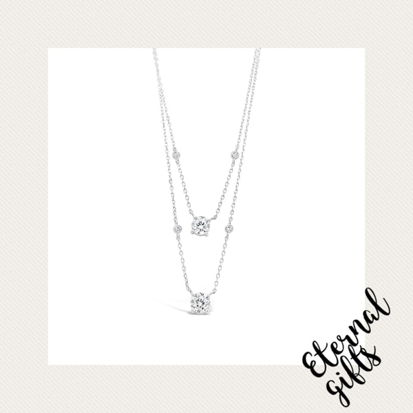 Sterling Silver Layered Diamond Necklace (SN114SL)- Absolute Jewellery